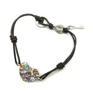 Fossil Crystal Heart Leather Bracelet Key Charm